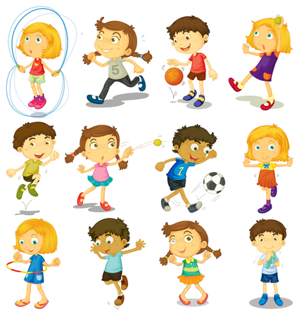 footbal: Boy and girl doing many activities illustration