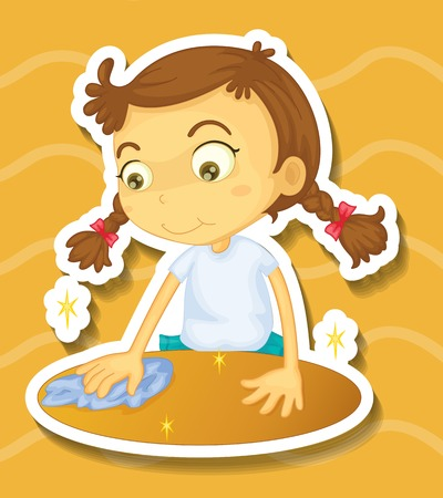 cleaning cloth: Little girl cleaning the table illustration