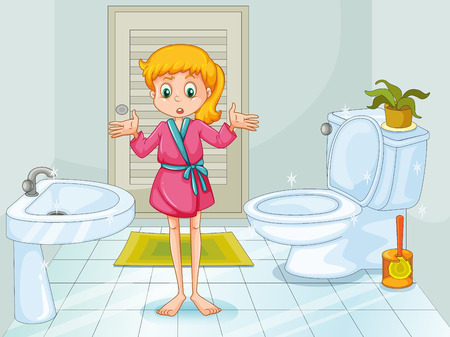 flush toilet: Girl standing in clean bathroom illustration