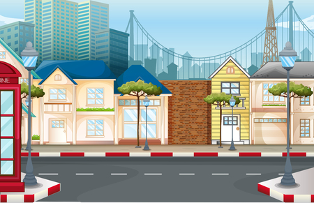 telephone booth: Shops on the empty street illustration