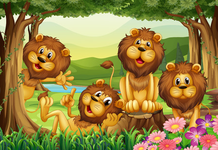 crouching: Lion living in the jungle illustration