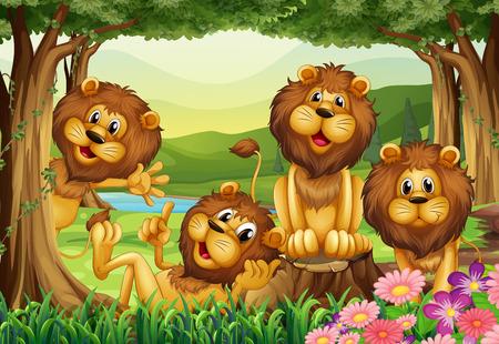 Lion living in the jungle illustration