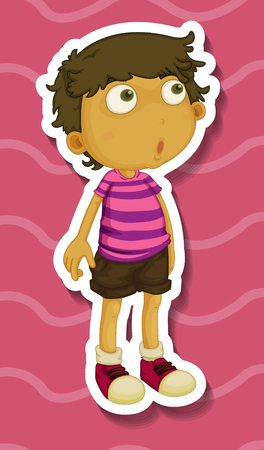 surprised child: Sticker of a boy standing illustration Illustration