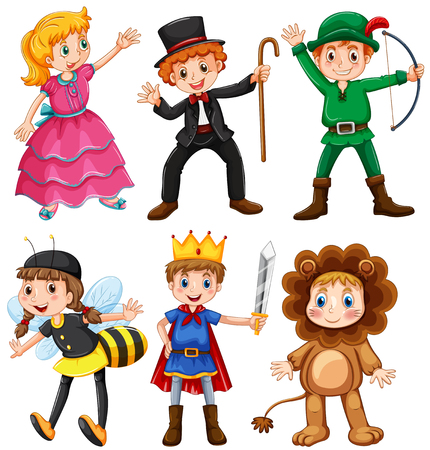 kids costume: Boys and girls in fancy costumes illustration