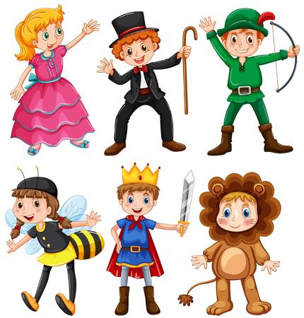 mago: Los niños y las niñas en trajes de fantasía ilustración Vectores