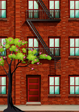 residental: Fire escape on the apartment wall illustration