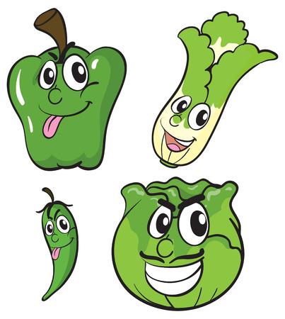 expresiones faciales: Los vegetales verdes con expresiones faciales ilustración