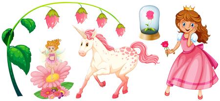 unicorn: Fairytales set with princess and unicorn illustration Illustration