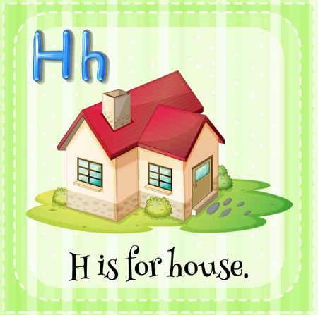 residental: Flashcard letter H is for house illustration