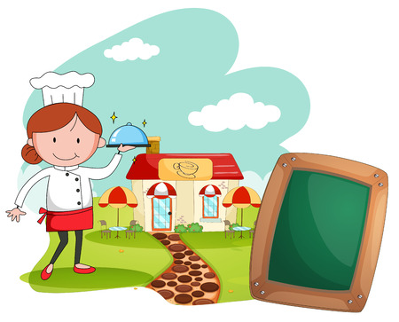 female chef: Female chef working at the restaurant illustration Illustration