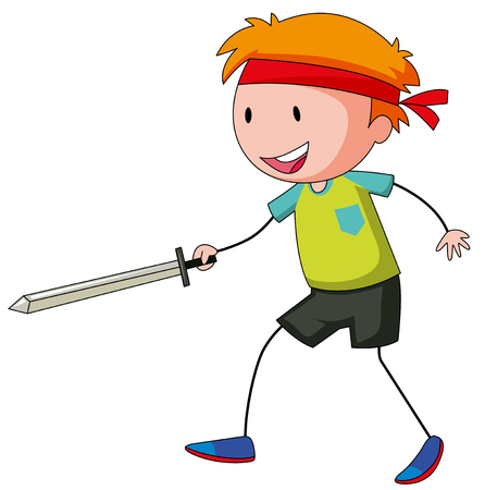 role play: Little boy playing swordfight illustration