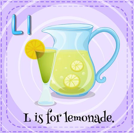 l: Flashcard letter L is for lemonade illustration