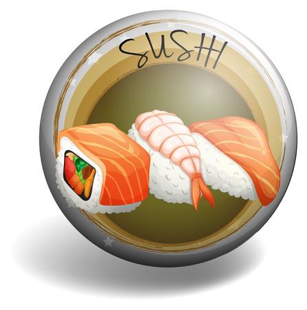 sushi roll: Sushi roll su rotondo distintivo illustrazione Vettoriali