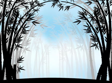 fog: Silhouette bamboo jungle with fog illustration