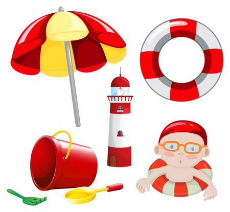 beach toys: Beach set in red tone illustration Illustration