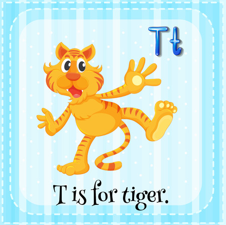 language school: Flashcard of letter T illustration