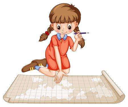 plotting: Girl plotting on map illustration Illustration
