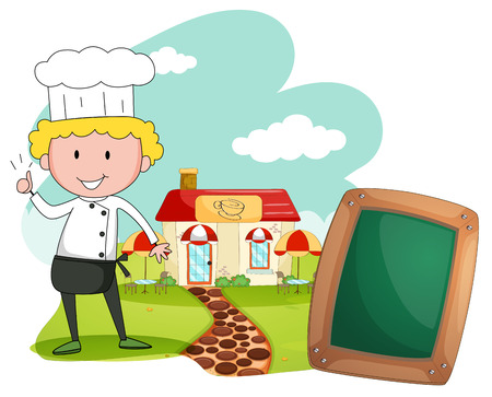 standing up: Chef standing in front of cafe illustration Illustration