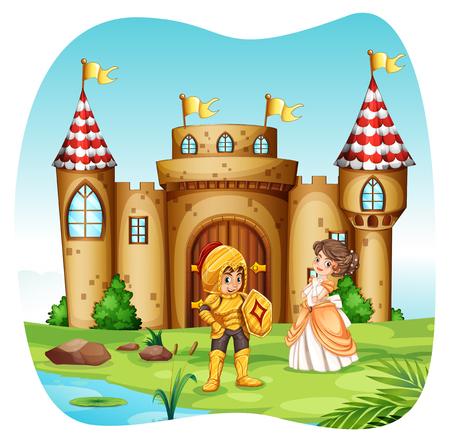 principe: Cavaliere e principessa con castel illustrazione