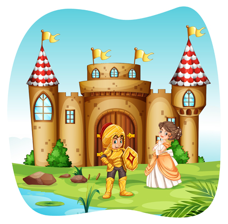 prince: Knight and princess with castel illustration