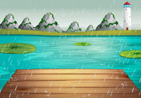downpour: Lake scene during the rain illustration