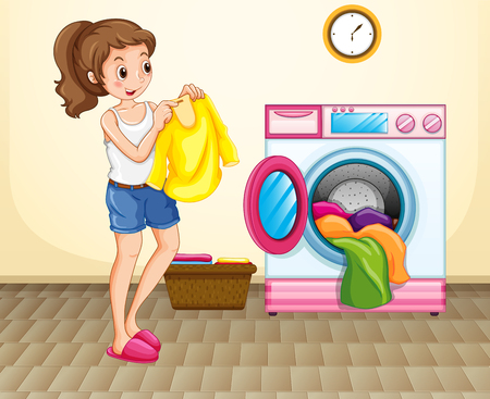 cartoon washing: Woman doing laundry at home illustration