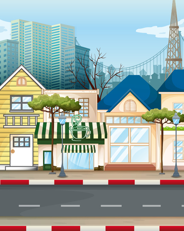 sidewalk cafe: Business area in the city illustration