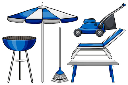 outdoor seating: Gardening tool and BBQ stove illustration Illustration