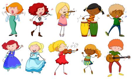 danseuse: Chanteurs et musiciens dans les actions illustration Illustration