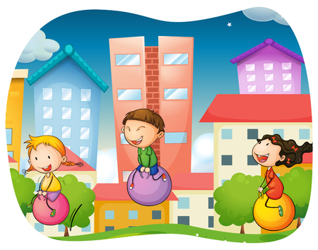 ball park: Boy and girls bouncing on the ball in the park illustration