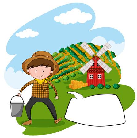 farmland: Farmer working in the farmland illustration Illustration