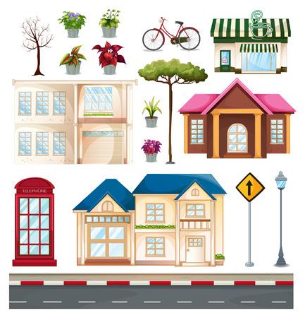 Gebouwen en dingen die we zien op straat illustratie