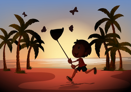 catching: Silhouette boy catching butterflies illustration Illustration