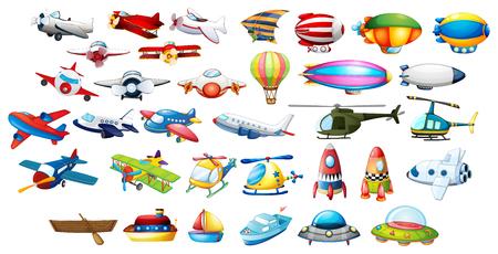 Vliegtuig speelgoed en ballonnen illustratie