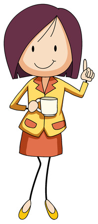 drink coffee: Businesswoman holding a cup of coffee illustration