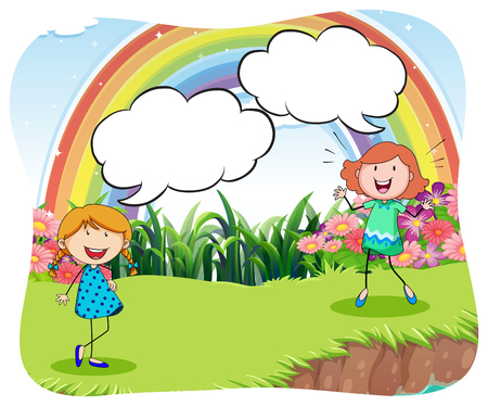talking: Girls in the park with bubble speech illustration