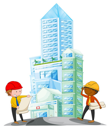 condominium: Engineers working in the construction site illustration Illustration