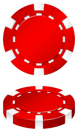 possibility: Red casino chip on white illustration Illustration