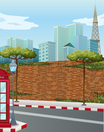 brick road: Street corner in the city illustration
