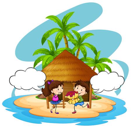 Boy giving flowers to girlfriend on island illustration Illustration