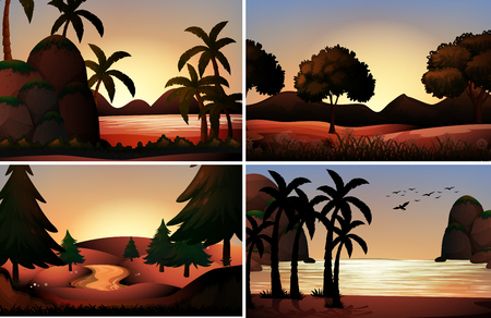 beach landscape: Silhouette view of ocean and rivers illustration