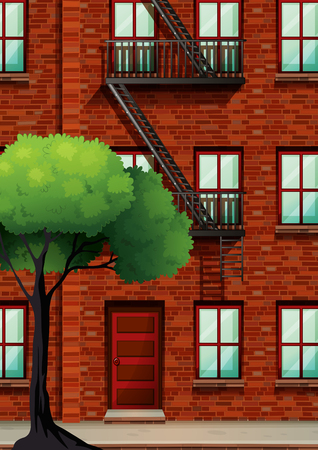 windows home: Fire escape on the apartment building illustration