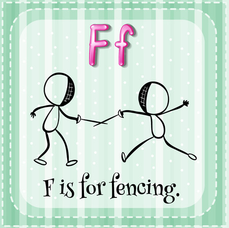 school sports: Flashcard letter F is for fencing illustration