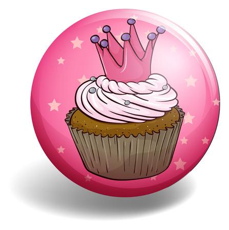 cupcake illustration: Cupcake on round badge illustration