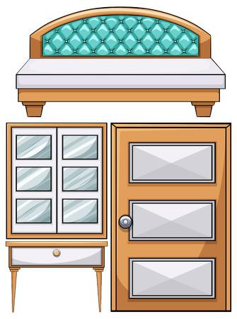 wooden doors: Furniture in the bedroom illustration Illustration
