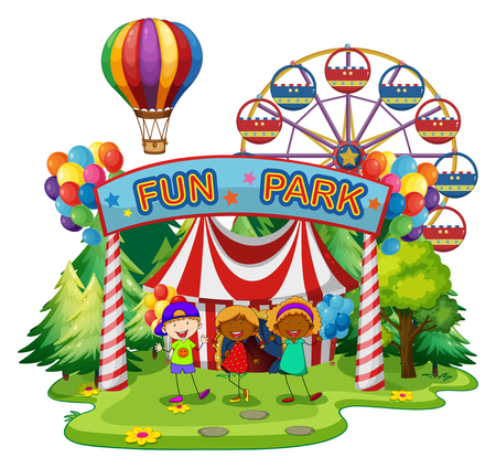 amusement park rides: Kids at fun park  illustration