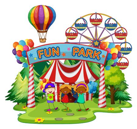 Kinderen op funpark illustratie Stock Illustratie