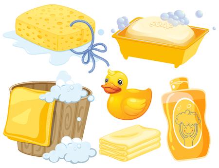 Salle de bains mis en couleur jaune illustration