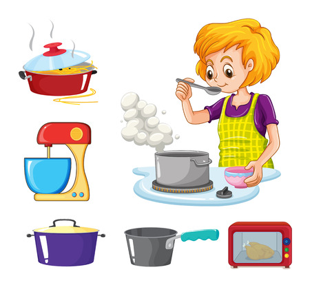Woman cooking and other equipment illustration 矢量图像