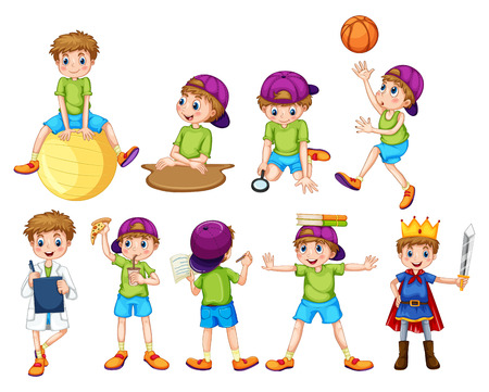 happy people eating: Boy doing different activities illustration